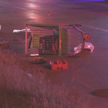 Man dies after being hit by 2 cars while pushing shopping cart on East Freeway feeder